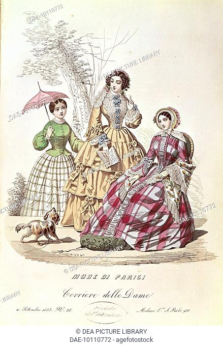 Fashion, Italy, 19th century. Women's fashion plate depicting walking dresses with hats and parasols. From Mode di Parigi Il Corriere delle Dame, September 20