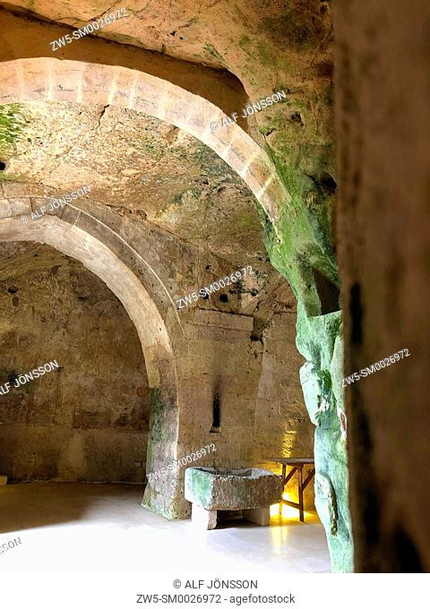 Inside an abandoned house in cave dwellings of Sassi di Matera in Sasso Barisano, Unesco World Heritage Site, Matera, Italy, Europe