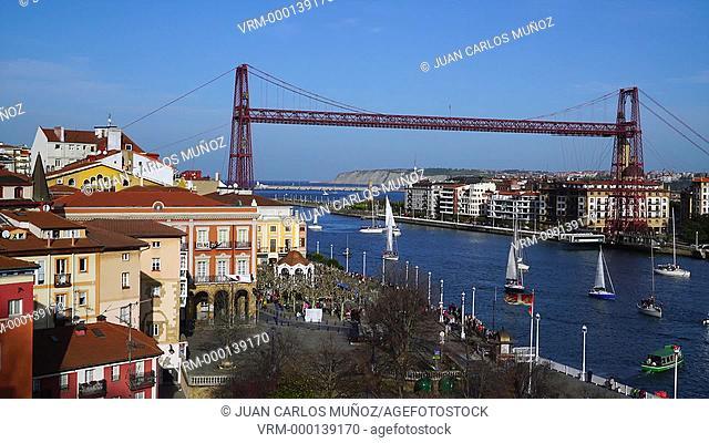 Regata del Gallo passing by Bizkaia's Hanging Bridge