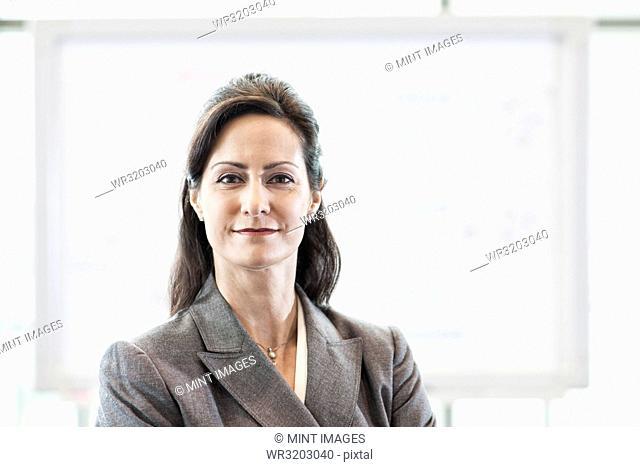 A portrait of a Caucasian businesswoman