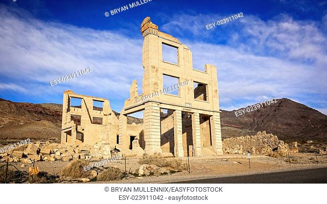 Ruins of a Rhyolite ghost town bank near Death Valley
