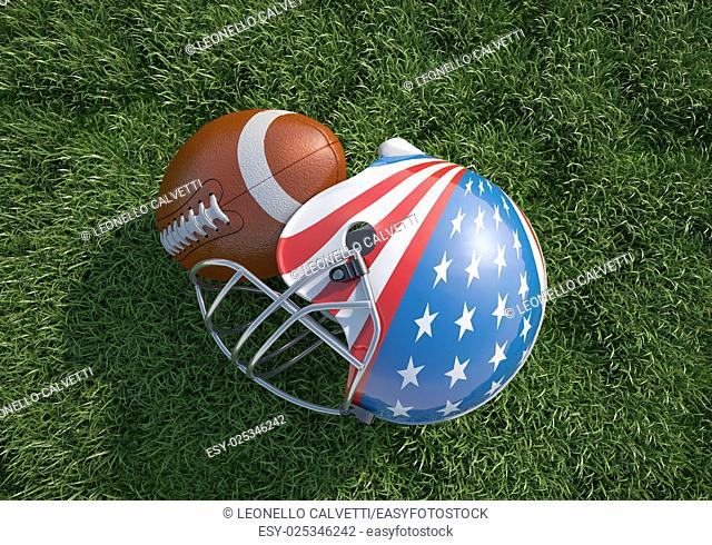American football helmet, decorated as American stars and stripes flag and oval ball, on the grass. Close up. Top view