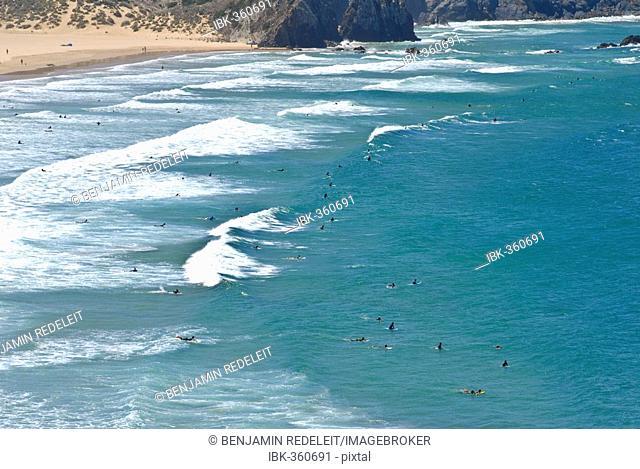 Atlantic Ocean, Surfer at Praia do Amado, Algarve, Portugal, Europe