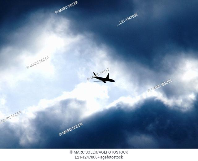 Aeroplane in a stormy sky