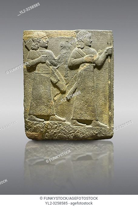 Hittite relief sculpted orthostat stone panel of Herald's Wall Limestone, Carchemish (Karkemish), 900-700 B. C. Anatolian Civilisations Museum, Ankara, Turkey