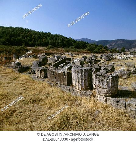 Remains of the Palace of Palatitsia, ancient city of Vergina (Unesco World Heritage List, 1996), Macedonia, Greece. Macedonian civilisation, 4th century BC