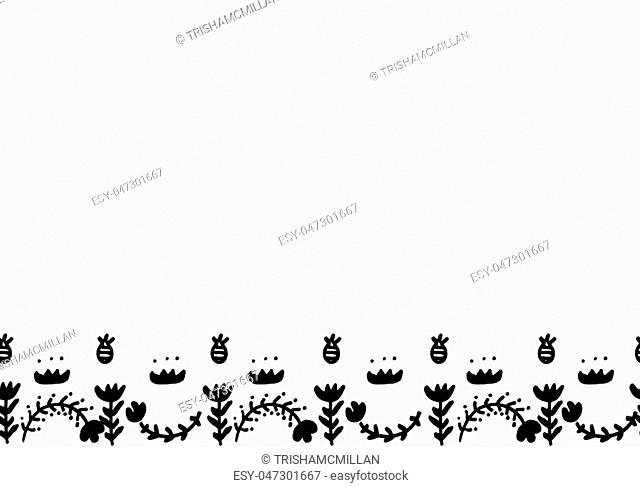 Hand drawn cute vector canvas. Simple doodle floral elements. Scandinavian style. Black and white