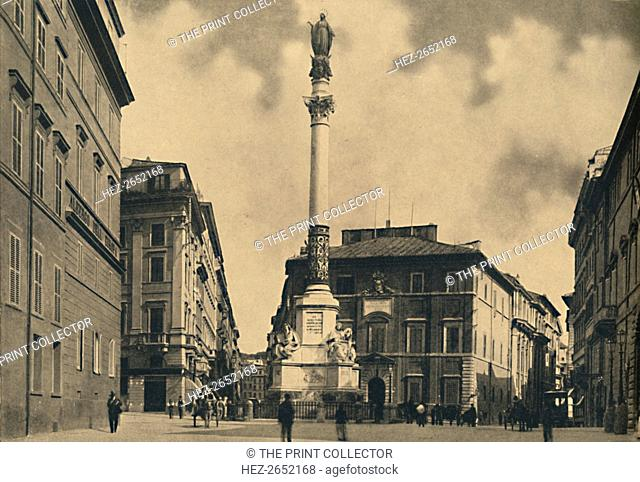 'Roma - Piazza di Spagna', 1910. Palace of Propaganda and Column of the Immaculate Conception. Column of the Immaculate Conception (Italian: La Colonna della...