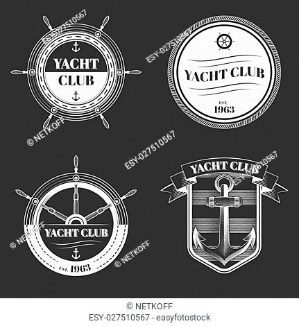 Set of yacht club logos, excellent vector illustration, EPS 10
