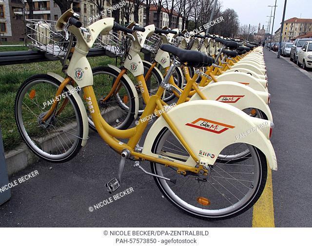 Bikes park at a station of the municipal bike hire service 'bikeMi' in Milan, Italy, 14 March 2015. Photo:NICOLEBECKER/doa | usage worldwide