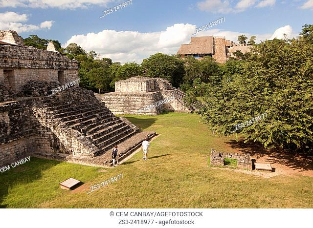Visitors in Ek Balam Archaeological Site near Valladolid, Yucatan Peninsula, Mexico, Central America