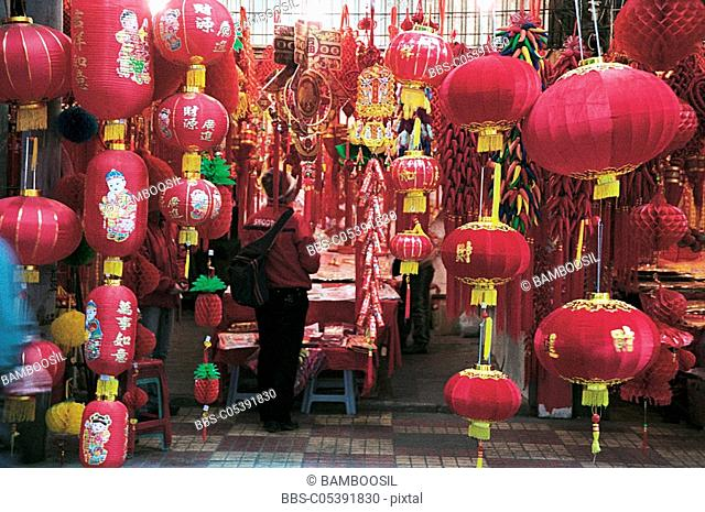 Store selling decorative spring lanterns, Fuzhou City, Fujian Province of People's Republic of China
