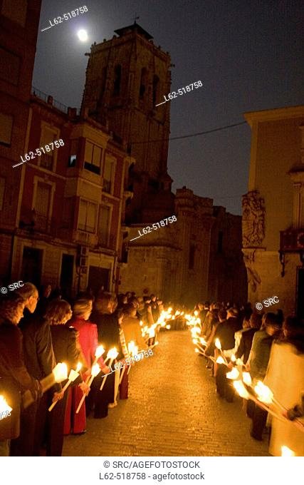 Corner of the town hall in Orihuela. Tower of the church of Santas Justa y Rufina. Procession of silence. Maundy Thursday. Orihuela. Alicante province