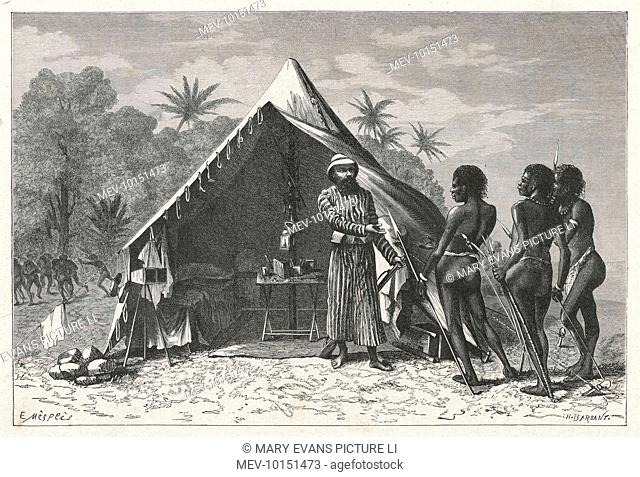 An East-West encounter : Achille Raffray, travelling in New Guinea, extends the hand of friendship to three New Guinea warriors