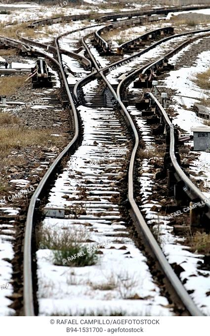 Rairoad tracks with snow, Bourg-Madame, Languedoc-Roussillon, Pyrenees-Orientales, France