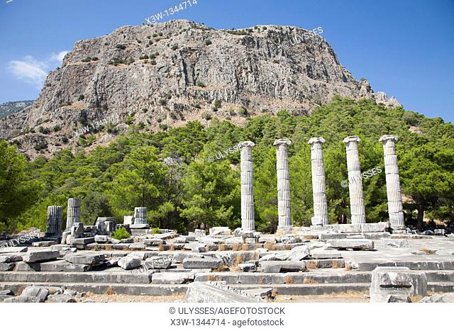 asia, turkey, southern aegean coast, priene, temple of athena, archeological area