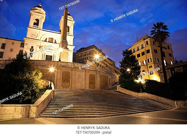 Spanish Steps and Trinita dei Monti Church in early morning