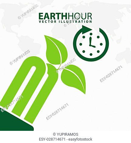 earth hour design, vector illustration eps10 graphic
