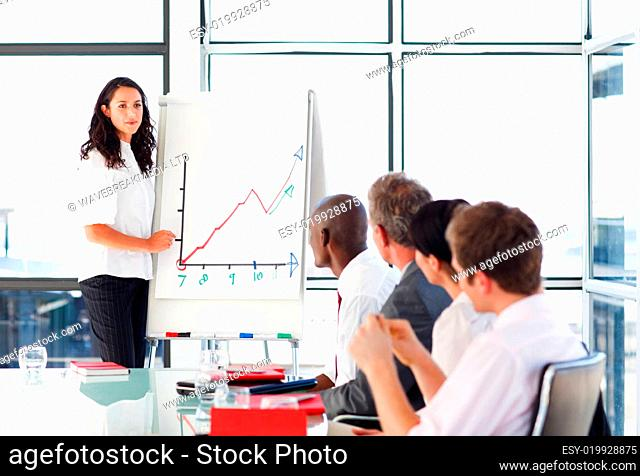 Businessswoman reporting to sales figures in a meeting