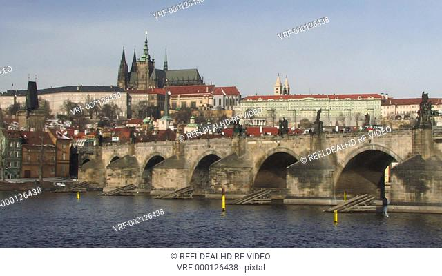 WS, PAN, Charles Bridge, Prague, Czech Republic, PAN over Vitava river and St Vitus Cathedral in background