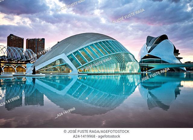 Spain, Valencia Comunity, Valencia City, The City of Arts and Science built by Calatrava, The Hemisferic and Auditorium