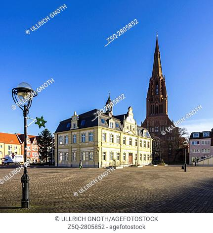 Hanseatic City of Demmin, town hall and church of St. Bartholomew, Mecklenburg-Pomerania, Germany