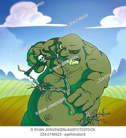 Cartoon illustration of a giant ogre in a green field shooting human skulls with a tree slingshot. Mythical Creatures