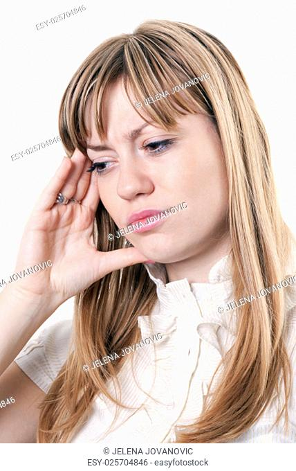 Business woman under stress against white background