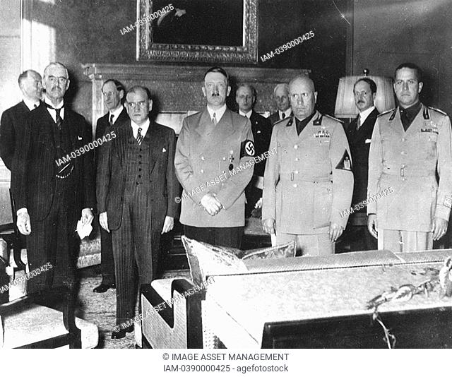 Munich, September 1938, Peace Conference: Left to right: Neville Chamberlain Britain Edouard Daladier France Adolph Hitler Germany Benito Mussolini Italy and...