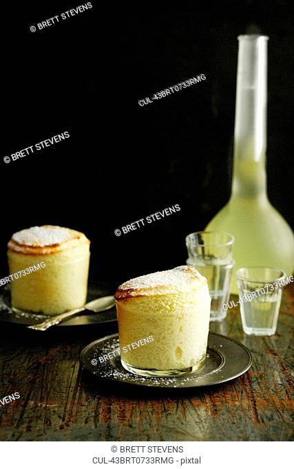 Plates of dessert souffle