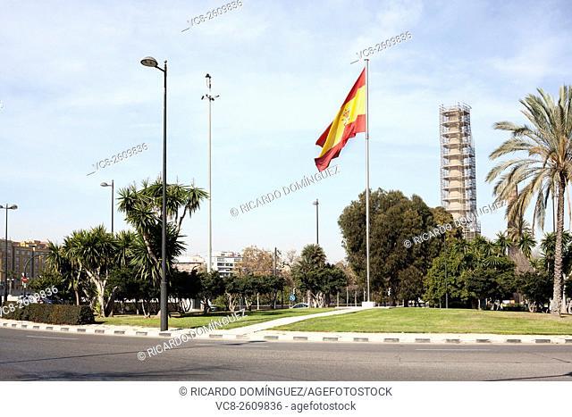 Spain flag. Valencia, Spain