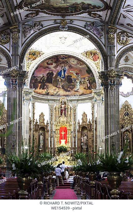 Interior of the Coyoacan Cathedral in Mexico City, Mexico