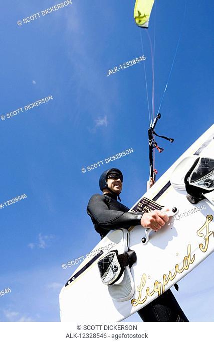 A kitesurfer in an instruction class, Kachemak Bay, South-central Alaska; Alaska, United States of America