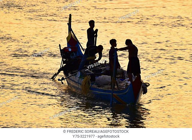 Boats on the Mekong river at sunrise,Phnom Penh,Cambodia,South east Asia