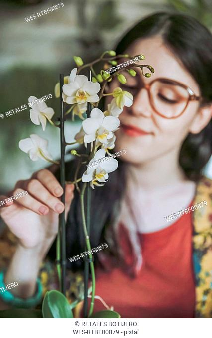 Young woman taking care of her orchid at home
