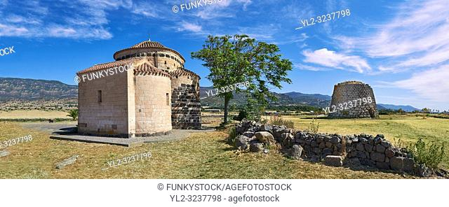 Picture and image of the Byzantine Romanesque church of Santa Sabina and the prehistoric Nuragic ruins of Nuraghe Santa Sabina, archaeological site