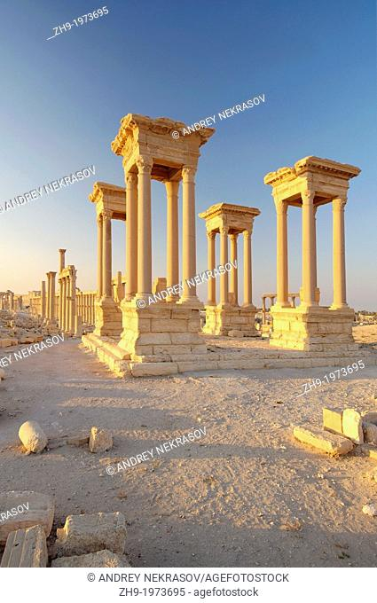 The Tetrapylon in ancient city of Palmyra, Syria