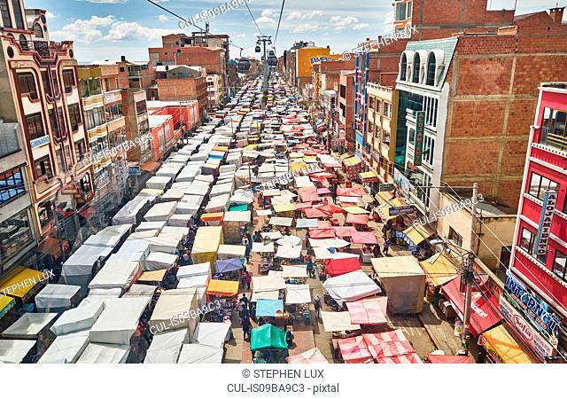 Elevated view of street market, El Alto, La Paz, Bolivia, South America