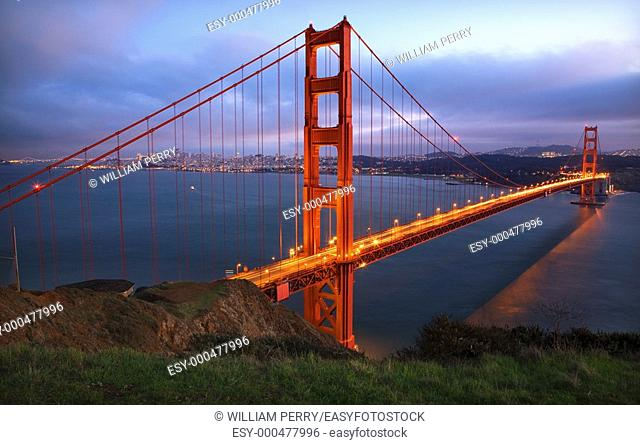 Golden Gate Bridge Headlands Evening with Lights San Francisco California