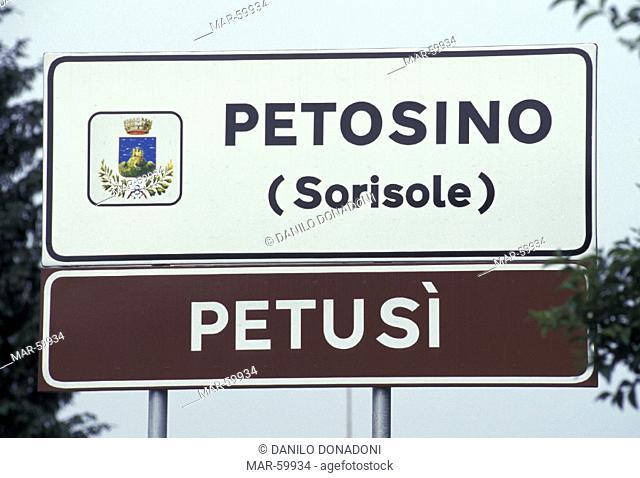 bilingual road sign, sorisole, italy