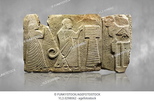 Alaca Hoyuk Sphinx Gate Hittite monumental relief sculpted orthostat stone panel. Andesite, Alaca, corum, 1399 - 1301 B. C