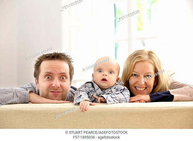 Parents with their six month year old baby