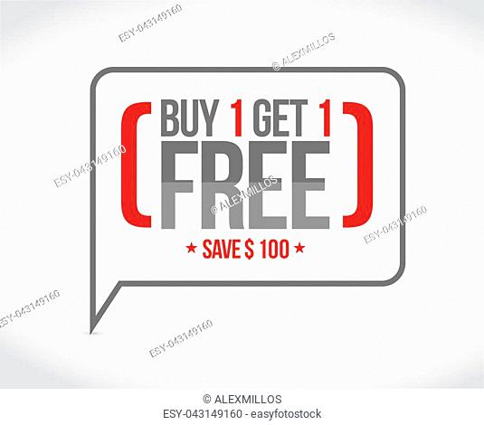 buy one get one free sale message concept illustration design graphic