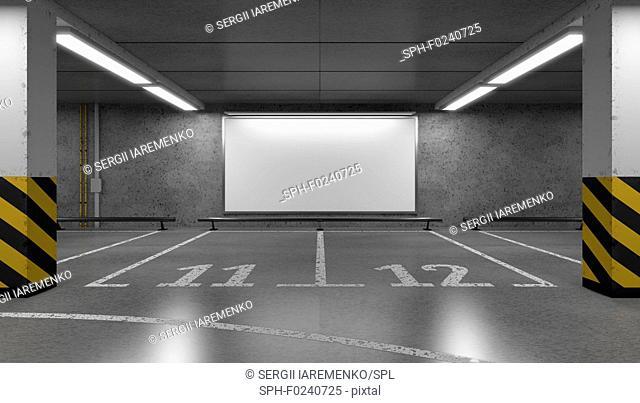Blank horizontal big poster on the multi-storey underground parking. Billboard mock-up. 3D illustration