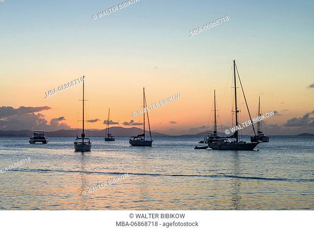 British Virgin Islands, Tortola, Cane Garden Bay, Cane Garden Bay Beach, sunset view