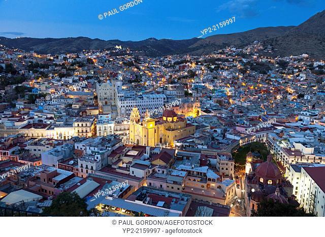 Overview of the city of Guanajuato, early evening - Guanajuato, Guanajuato, Mexico
