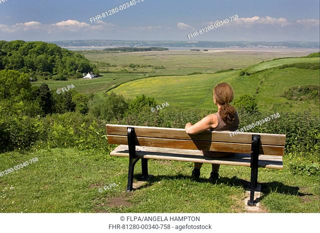 Woman sitting on bench overlooking coastline, Llanmadoc, Llanridian Sands, Burry Port, Gower Peninsula, Glamorgan, Wales, june
