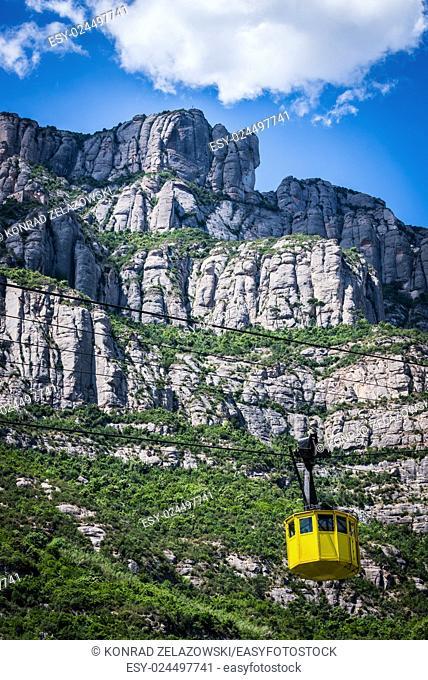 cable car to Santa Maria de Montserrat Abbey in Montserrat mountains, Spain