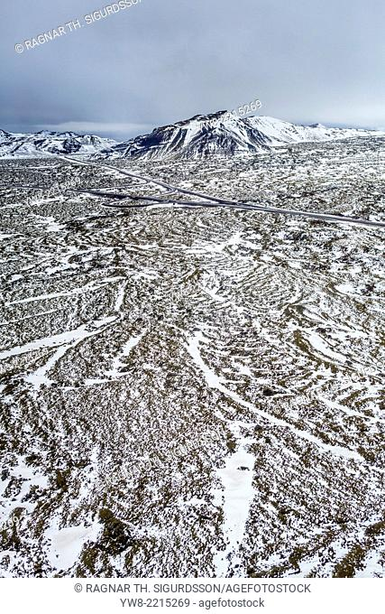 Aerial view of road in Hellisheidi, Iceland