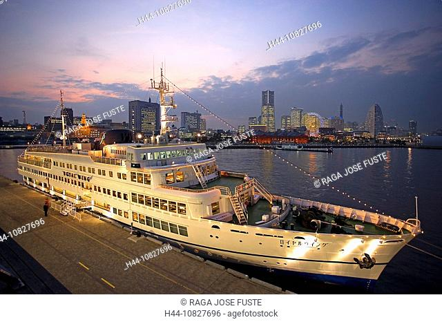 Japan, Asia, Yokohama, Minato Mirai 21, harbor, port, skyline, at night, night, skyscraper, land mark of Tower, big di